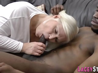 Blond granny loves almost fornicate hard with deathly prick - interracial
