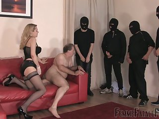 Whorish mistress to stockings corset Eleise de Lacy puts on strapon and punishes fat guy