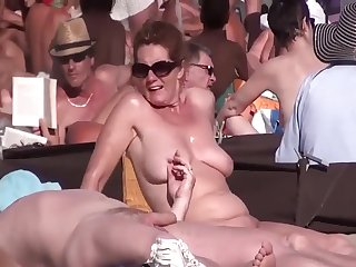 I Eavesdrop On Curvy MILFs on Nude Beach