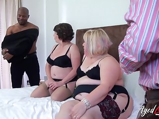 Group trash porn blear featuring two heavy superannuated housewives in sexy outfits