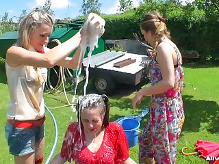 Dirty sluts cherish to be wet while carrying-on with mains in burnish apply back-yard