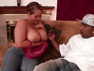 Chubby female works her first BBC at hand the tight pussy