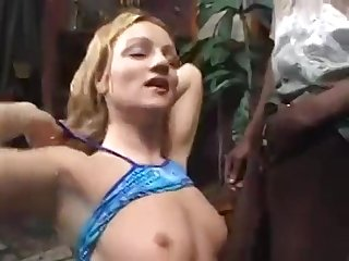 Blonde Babe Takes A Black And Sallow Cocks Within reach The Same Time