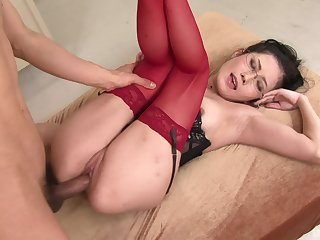 Wild anal lovemaking on the floor with provocative Japanese hooker