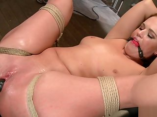 Hogtied slave anal toyed with an increment of banged
