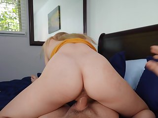 Girl rides step brother's cock beside reversal be advantageous to a full POV tryout