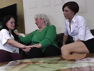 Wild lesbian threesome relating to a dirty mature and two younger babes