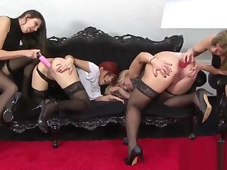 4 Horny Milfs 2 Big Black Cocks And A Finalize Lotta Double Coop