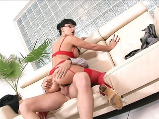 heavy ass MILF keeps her peppery lingerie out of reach of later on riding hard