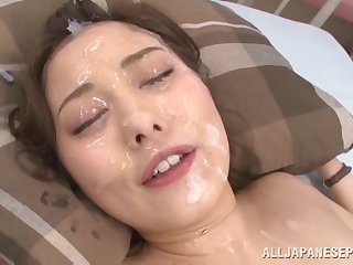 Messy facial attaining for Japanese indulge Beni Itou after a gangbang