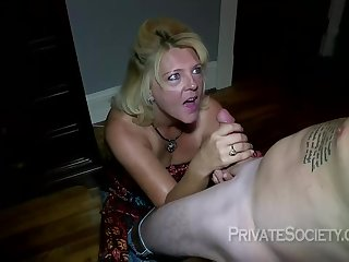 Mature flaxen-haired woman, Mrs Baldwin is cheating on her husband, with a neighbor she likes