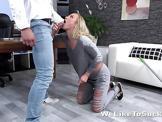 Nice blond babe Eveline Neill is fucked by tattooed handsome day