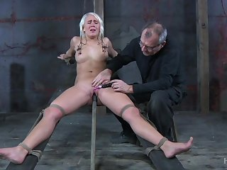 Obedient blonde whore with natural tits Sophie Ryan deserves bondage and masturbation