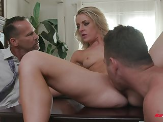 Low-spirited Kate Kennedy licked and dicked in front of a cuckold