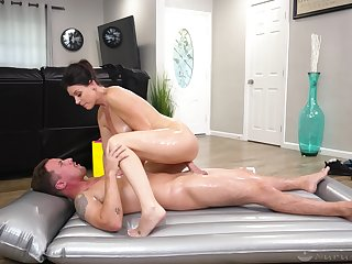 Energized woman rides chum around with annoy young lover and sucks his sperm in chum around with annoy end