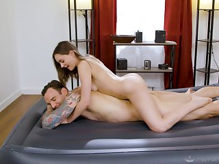 Masseuse sucks and rides consumer with finished appetence and lust