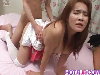 Busty Mako Kamizaki In Stockings Has Crack Fingered And Fucked