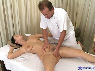Natural jugs mature Enza gets massaged and fucked balls deep
